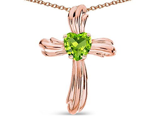 Star K Heart Shape 6mm Genuine Peridot Ribbed Cross Of Love Pendant Necklace 10k Rose Gold