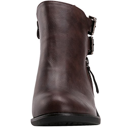Alexis Leroy - Double Buckle Classic Solid Heeled Jodhpur Boots para mujer Marrón