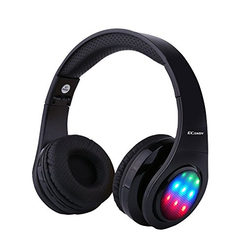 Ecandy Bluetooth Headphones w/Led Wireless/Wired Stereo Music Foldable Over-ear Hifi Sound With Microphones Hands-free Handsfree Calling for Iphone 6 6S Plus Samsung,Android Smartphone,Tablet (Black)