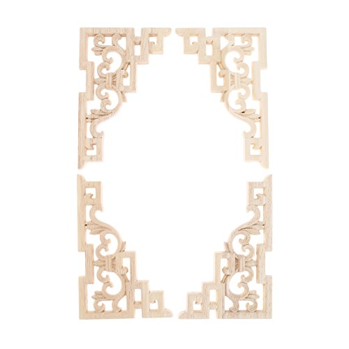 (MUXSAM Vintage Wood Carved Decal Corner Onlay Applique Frame Furniture Wall Unpainted for Home Cabinet Door Decor Craft 15x10cm)