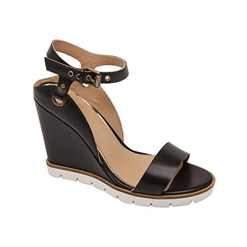Ella | Modern Luxe Leather High Wedge Sport Sandal Black Leather 8.5M