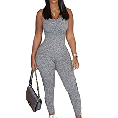 Top KLJR-Women Slim Fit Bodycon Tank Solid Backless Jumpsuits Playsuit for cheap