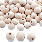 BronaGrand 100pcs 18mm Natural Color Round Ball Wood Spacer Beads Jewelry Findings Charms