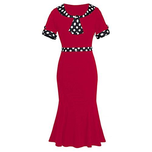 Vintage de los a?os 50 Polka Dot bowknot Fishtail vestido de c¨®ctel Negro