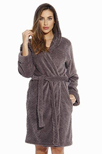 Womens Bath Robe (6341-Charcoal-M Just Love Kimono Robe / Hooded Bath Robes for Women)