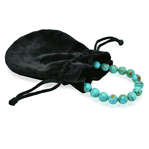 Bluejoy Jewelry Genuine Natural Turquoise Bracelet 8mm Perfect Round Beads with Lobster Clasp by Bluejoy (Image #3)