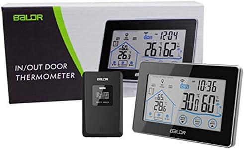 LITZEE Wetterstation, Funkwetterstation Funk mit Außensensor, Digital Thermometer-Hygrometer für Innen und außen, Weiße Hintergrundbeleuchtung und Uhrzeit Anzeige