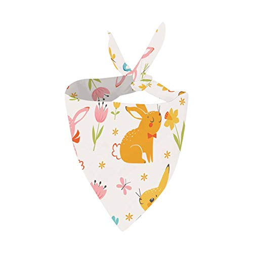 INTERESTPRINT Cute Easter Multicolored Bunnies, Easter Eggs Dog Bandana Pet Soft Cotton Kerchief Accessaries for Dogs Cats