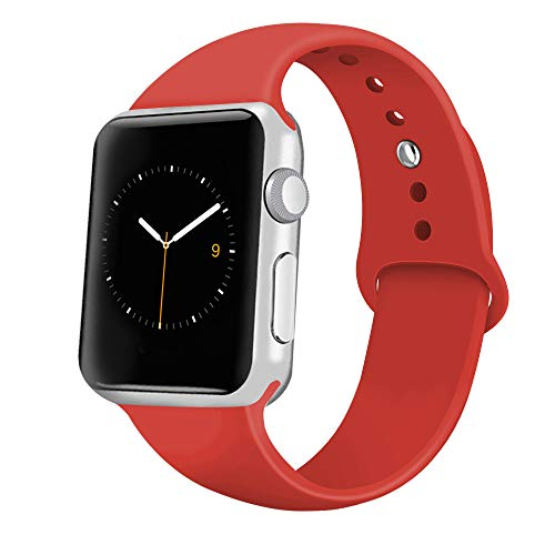 iGK Sport Band Compatible with Apple Watch 38mm/40mm, Soft Silicone Sport Strap Replacement Bands for iWatch Apple Watch Series 4 Series 3, Series 2, Series 1 38mm/40mm Orange Red Large