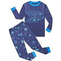 KikizYe Little Big Boys Long Sleeve 100% Cotton Pajama Sets