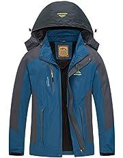 Diamond Candy Mens Winter Rain Coats Waterproof Hooded Jackets for Running Outdoor Sports