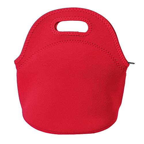 Poromoro Insulated Neoprene Lightweight Lunch Tote Lunch Bag Lunch Box for Kids Women Men (Red)