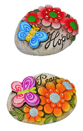 Garden Yard Decorative Cement Stepping Stones with Sayings (Hope & Peace) ()