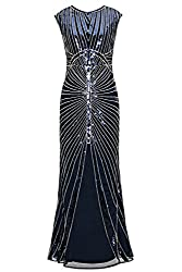 Metme Women's 1920s Vintage Fringed Sequin Long Flapper Gatsby Dress For Party (S, Navy)