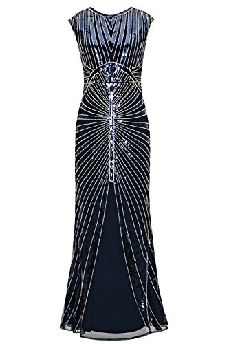 Metme Women's 1920s Vintage Sequin Long Flapper Gatsby Dress for Party (L, -