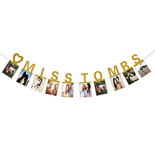 Hatcher lee Miss to Mrs Photo Banner Gold Foiled for Wedding Sign Bridal Shower Banner Hen Night Bunting Gold ()