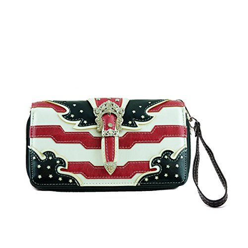 Western Wallet Stars and Stripes American Flag Wallet accented with a Silver Buckle and Studs