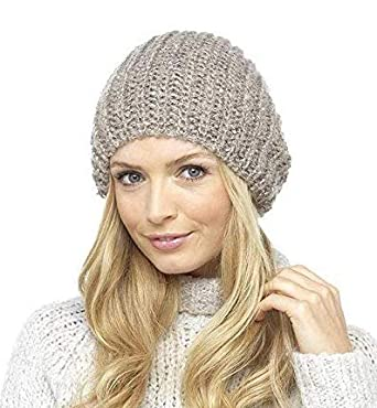 ca3988ab9a83 Ladies Stretch Double Layer Chunky Rib Knit Slouch Beanie Hat Winter  Accessory (Beige): Amazon.co.uk: Clothing