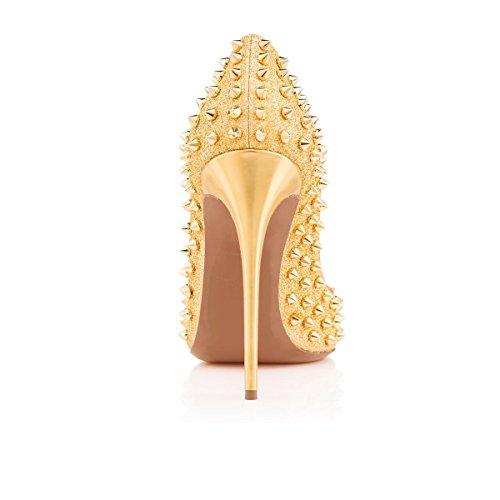 Arc-en-Ciel Moda talón zapatos del estilete de las mujeres Bombas TACHONADO Gold