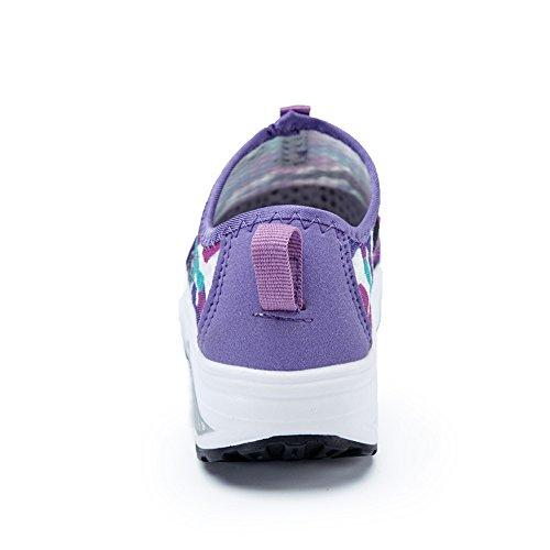 Enllerviid Mujeres Shape Up Fitness Zapatos Slip On Plataforma Ligera Walking Sneakers 3309-1 Purple