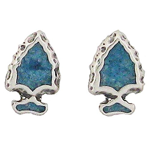925 Sterling Silver Native Us Indian Arrowhead, Turquoise Inlay Charm Earrings