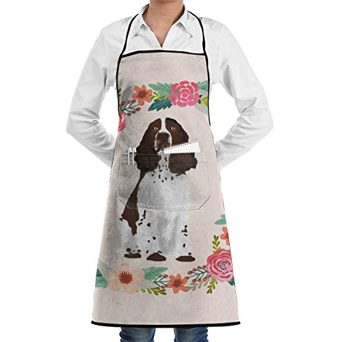 xiaolang Kitchen Aprons English Springer Spaniel Wreath Florals Dog Fabric Adjustable Bib Apron with Pockets 28.3x20.5inch