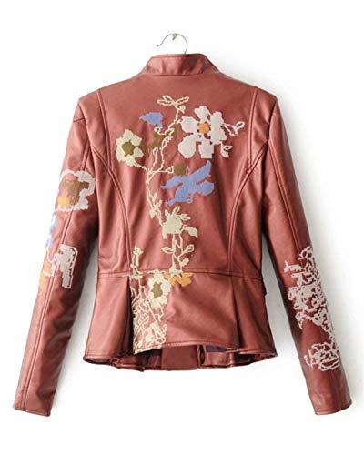 Pelle Vintage Lunga Winered Donna Moda Eleganti Cerniera Di Primaverile Manica In Giacca Outerwear Stlie Cappotto Similpelle Autunno Con Classiche Stampato Grazioso 4RwXqwEOnx