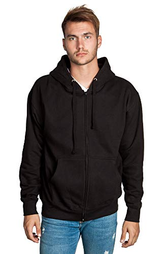 Zeratova Stylish Full Zip Up Hoodie for Men's Boys– Pullover Active EcoSmart Jacket with Long Sleeves, Fleece Lining & Pockets – Zippered Sweatshirt for Sports & Casual Grab Outfits - (Black, Medium)