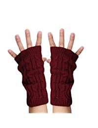 uxcell® Unisex Thumbhole Fingerless Cable Knit Knitted Gloves