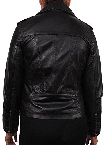 Brandslock para mujer chaqueta de motorista real cuero vendimia negro