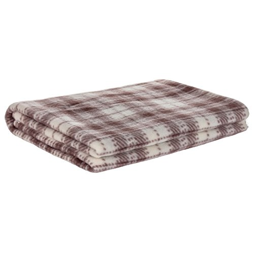 OTRON Premium Pet Blanket - Classic Plaid Fleece Throw For Dogs Of All Kinds & Sizes - 3 Colors & 3 Sizes To Choose From - [Brown] - [30 in x 20 in (80 x 55 cm)]