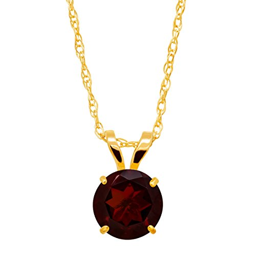 - 1 ct Natural Garnet Round-Cut Solitaire Pendant Necklace in 10K Gold