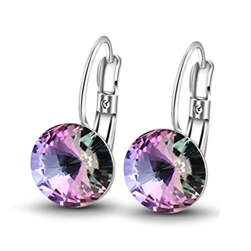 Purple Crystal Earrings, Leverback Drop Earrings Colorful Jewelry for Women DSP03 ()
