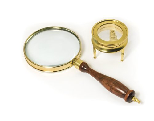 BARSKA Brass Magnifier Set:3 Power, 90mm Hand-Held Magnifier & 42mm Table Magnifier