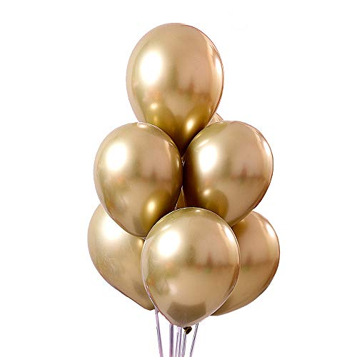 - Jurxy 50 PCS Metallic Party Balloons 12'' Glossy Metal Pearl Latex Balloons Thick Pearly Chrome Alloy Inflatable Air Balloons for Birthdays, Bridal Shower - Gold
