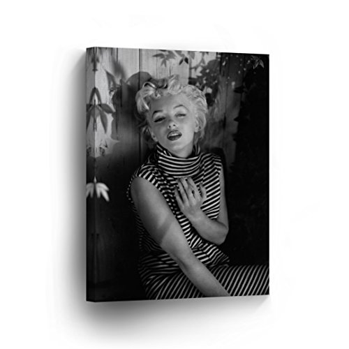 Marilyn Monroe in Striped Dress Black and White Canvas Print Decorative Art Modern Wall Decoration Artwork Wrapped Wood Stretcher Bars - Ready to Hang -%100 Handmade in The USA - - Poster Monroe Modern