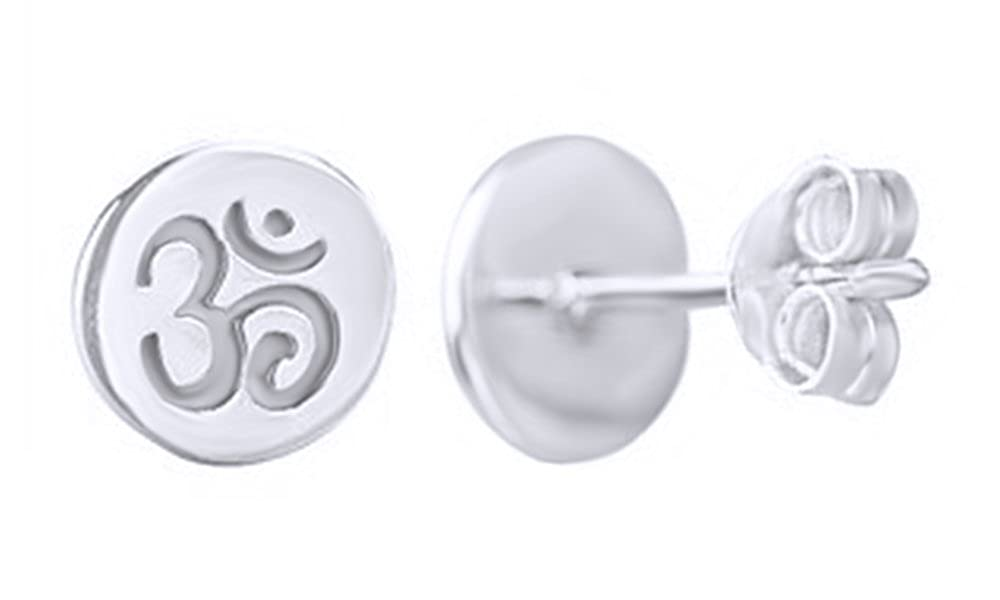 45d22673d Amazon.com: Spiritual Tiny OM Disc Post Stud Earrings in Rose Gold Over  Sterling Silver By Jewel Zone US: Jewelry