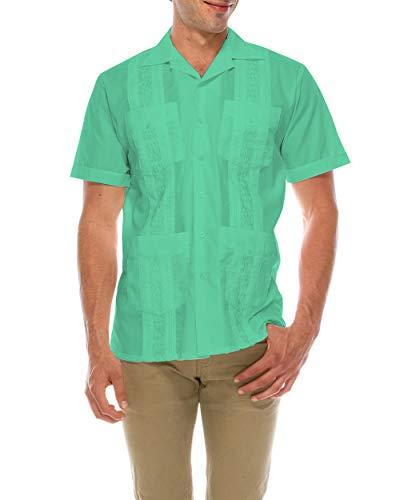 TrueM Men's Short Sleeve Cuban Guayabera Shirts (XL, Aqua)