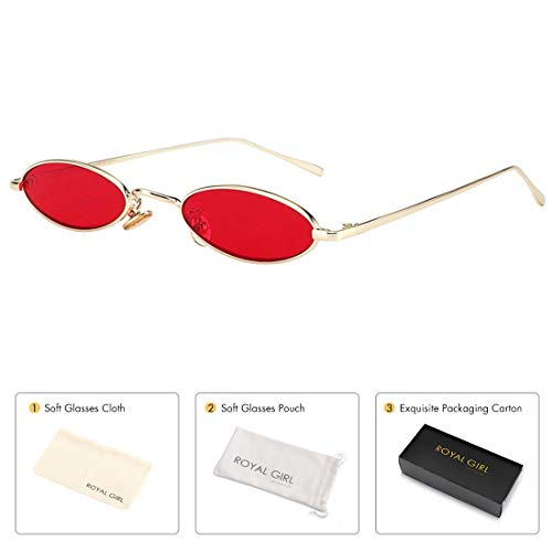 ROYAL GIRL Vintage Oval Sunglasses For Women Men Unisex Fashion Small Metal Frames Shades (C40-Gold-Red) ()
