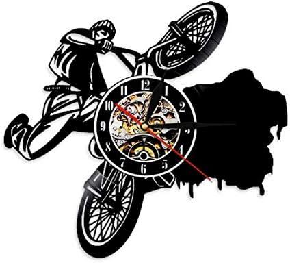 1 Pieza BMX Bicicleta Iluminación Led Disco De Vinilo Reloj De Pared Deportes Bicicleta Moderno Arte De La Pared Sala De Estar Fresca Decoración Interior 12inch(30cm): Amazon.es: Hogar