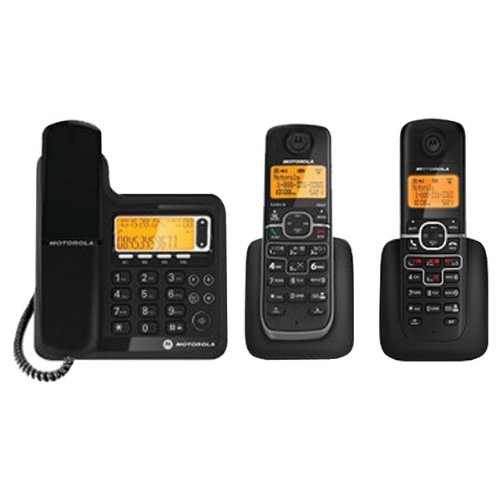 MOTOROLA L703C DECT 6.0 CORDED/CORDLESS PHONE SYSTEM WITH DIGITAL ANSWERING SYSTEM (2 CORDLESS HAN -