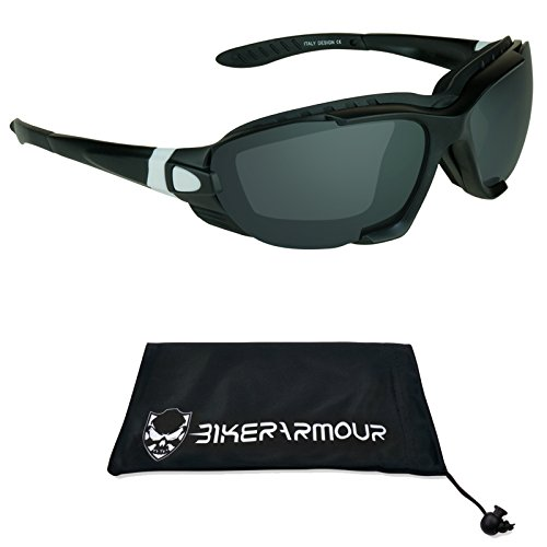 Motorcycle Goggles with Interchangeable Strap, Sunglass Temples and Removable Foam Cushion. SliderII - Your Sunglasses Insure