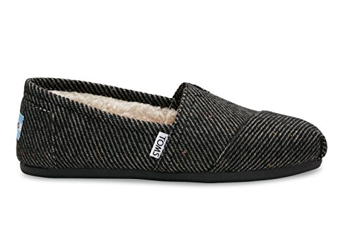 Black Speckled - Toms Classic Black/White Speckled Wool with Shearling womens 6.5