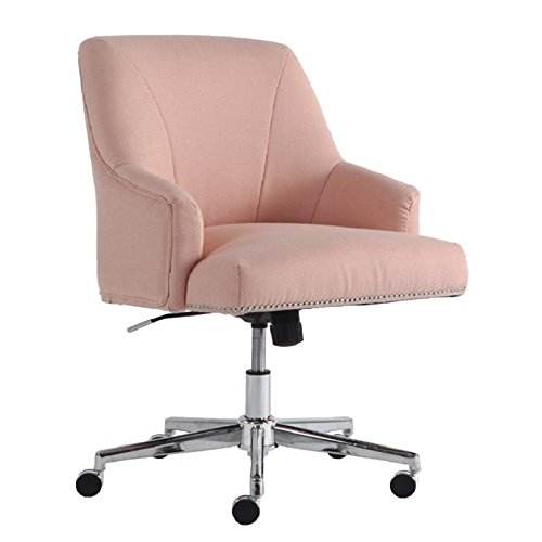 Serta Style Leighton Home Office Chair, Party Pink Twill Fabric