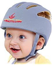 Infant Baby Safety Helmet, IULONEE Toddler Soft Adjustable Cap When Learning to Walk, Children Safety Harnesses Hat for Running Crawling (Grey)