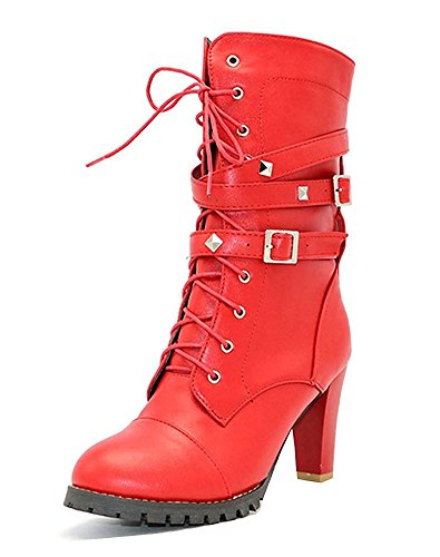 Maybest Womens Ladies Mid Calf Boots Fold Over Long Stretch Winter Leather Shoes Knee Long Block High Heel Boots Sexy Fashion Casual Red 9 B (M) US