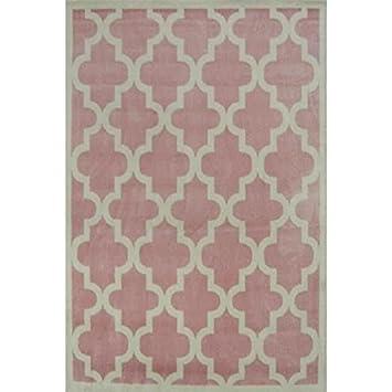 Teppich rosa weiß  Wohnzimmer-Teppich, Vierpass-Muster, 80x 150cm, Rosa ...