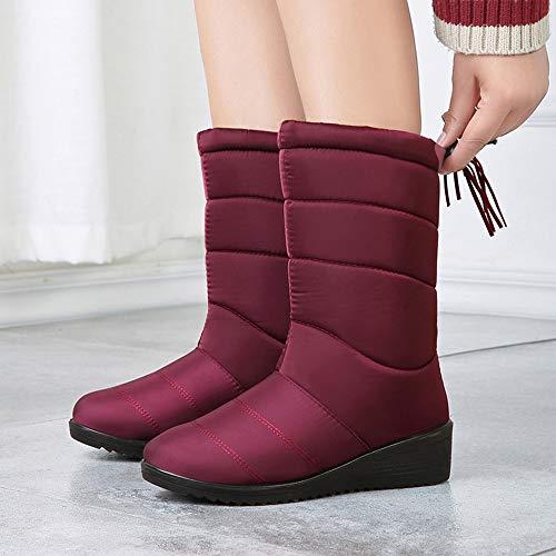 Chaussure Femmes Chic Hiver Bout Chaussures 2018 Rouge Martin La À Bottes D'hiver Femme Coupon Solides De Nouveau Automne Rond Vouchers Neige Cheville rxXqrw8BC
