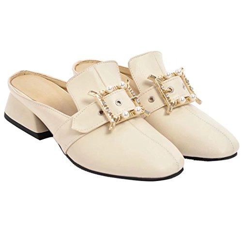 AIYOUMEI Womens Low Heel Mules Slip On Sandals Closed Toe Slippers White vtqkR