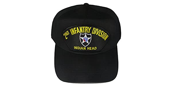 62d6069844a Amazon.com  2nd INFANTRY DIVISION VETERAN HAT with INDIAN HEAD and 2ND ID  crest cap - BLACK - Veteran Owned Business  Clothing